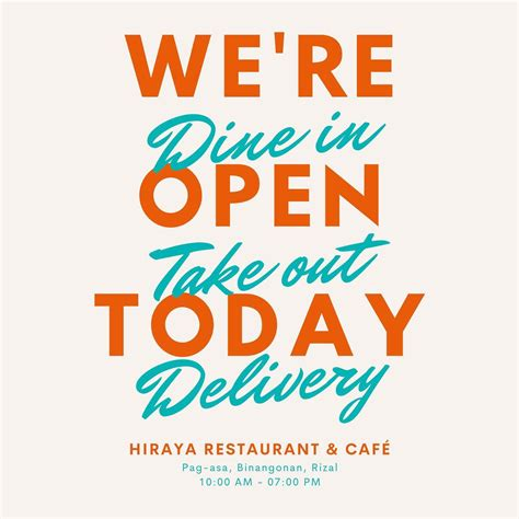 WE'RE NOW OPEN FOR DINE IN! - Hiraya Restaurant and Café