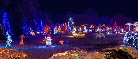 Village In Christmas Lights, Panoramic View Stock Image